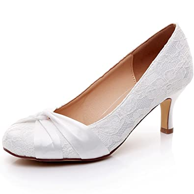 090f8422e4a YOOZIRI Closed Toe Lace Wedding Shoes - Heels 2 inch-RS-9808-Closed ...