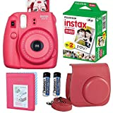 FujiFilm Instax Mini 8 Instant Film Camera Raspberry With Fujifilm Instax Mini Instant Film Twin Pack (20 Sheets) + Rasberry PU leather Case With Photo Album 64 Pocket Top Value Set Accessories Bundle