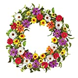 Collections Etc Vibrant Summer Daisy & Wildflower Front Door Wreath Porch Decoration, 22'' Diam