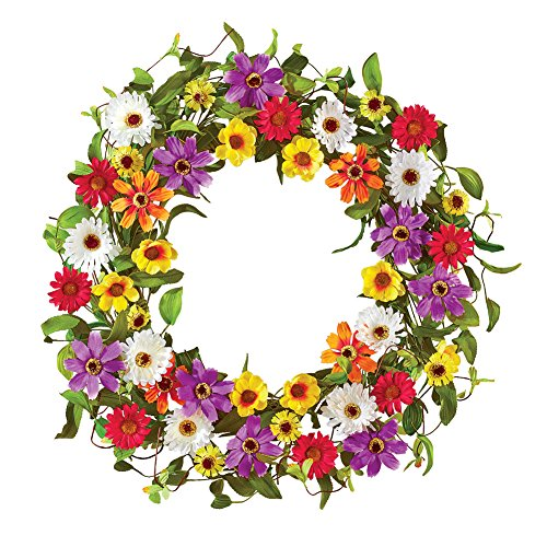 Collections Etc Vibrant Summer Daisy & Wildflower Front Door Wreath Porch Decoration, 22'' Diam by Collections Etc