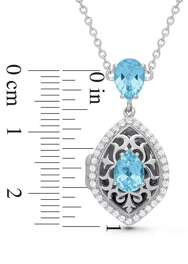 With You Lockets-Sterling Silver-Topaz-Tear Drop-Custom Photo Locket Necklace-The Sadie