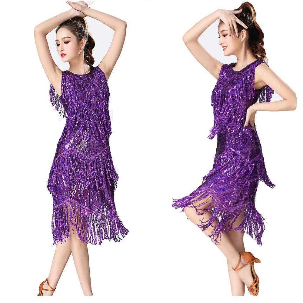 Damen Quaste Latin Dance Kleider Frauen Dancewear Pailletten Fransen Quasten Rhythm Salsa Ballsaal Samba Tango Latin Dance Dress Wettbewerb Kostüme Swing Rumba Dress für Nachtclub Cocktail Tea Party