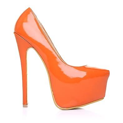 ee1630e76e7c42 ShuWish UK - Escarpins Donna Stilleto Haut Talon Plateforme Couleur Orange Cuir  PU - Couleur orange