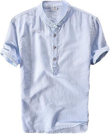 Icegrey Hombre Henley Camisa De Lino De Manga Corta Casual T-Shirt Camisas De Verano con El Botón del Nudo Chino: Amazon.es: Ropa y accesorios