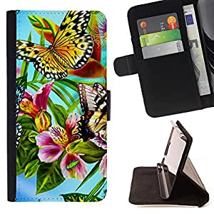 King Air - Premium PU Leather Wallet Case with Card Slots, Cash Compartment and Detachable Wrist Strap FOR Samsung Galaxy S5 V SM-G900 G9009 G9008V- Butterfly Fly Beautiful Colorful