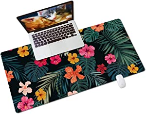 """QIYI Multifunctional Office Desk Pad, Water-Resistant PU Leather Mouse Pad, Home Décor Large Desk Organizer Mat, Non Slip Base Writing Pads for Home & Office 31.5"""" x 15.7"""" - Palm Leaves & Flowers"""