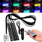 FICBOX 7 Color 48 LED Car Interior Floor Decorative Atmosphere Lights Strip Waterproof Glow Neon Decoration Lamp with Wireless Remote Control and Car Charger