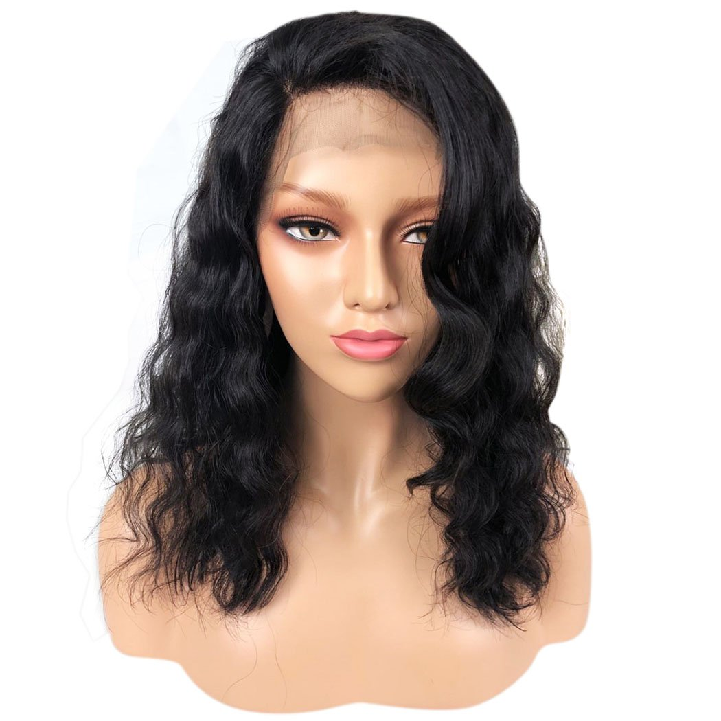 YOTCHOI Hair Virgin Human Hair Lace Front Wigs Natural Color 150% Density Brazilian Cuticle Aligned Hair Wavy Wigs With Baby Hair 14 inch Short Bob for Black Women On Sale