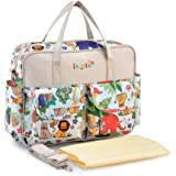 Multifunctional Waterproof Mummy Shoulder Bag Diaper Bag Chic Nappy Changing Bag Tote/Messenger Style Large Light Weight with Changing Mat, Adjustable Straps Animal Fun (Beige)