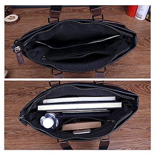Jia HU Modische Herren Leder Laptop Aktentasche Carry portfoli Messenger Schultertasche Schwarz Njp0Y2oHO