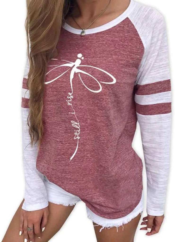 Women Long Sleeve Blouses Fashion Casual Loose Dragonfly Print Round Neck 2019 Autumn Winter New Long Sleeve Tops Pullover Tunic T-Shirt Tees Sport Sweatshirt Viviplus Clothing
