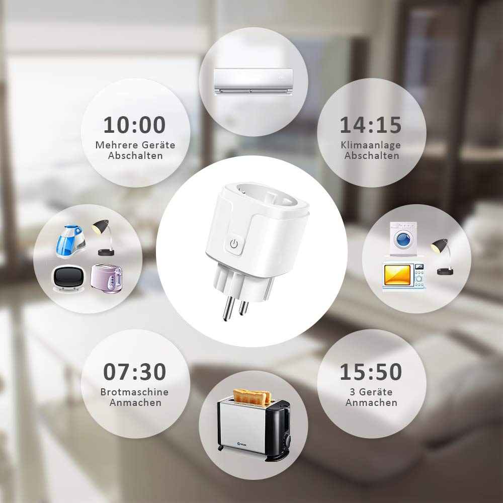 Kompatibel mit  Alexa Nur 2.4GHz -2 Packs Echo, Echo Dot Mini Intelligente Plug WiFi Stecker Fernbedienung /über APP-Bedienung Google Home Carantee WLAN Smart Steckdose Timing-Funktion