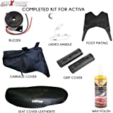 AllExtreme 7 in 1 Combo Accessories Kit for Honda Activa 4G - Leatherette Seat Cover, Handle Bar Grip Cover, Helmet/Baggage Holder, Buzzer, Liquid Wax Polish, Rubber Foot/Floor Mat, Weatherproof Garage Cover