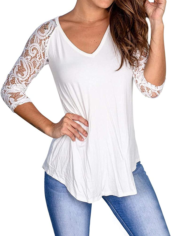 ZXZY Womens V Neck Shirts Solid Color Lace Tunics Tee Half Sleeve Tops for Women