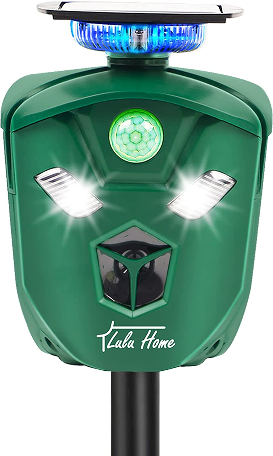Lulu Home 360 Animal Repeller, Solar Powered Ultrasonic Animal Deterrent with 3-Side Motion Activated Flashing Lights, Waterproof Rodent Repellent Repelling Dogs, Wild Cat, Raccoon, Rabbit, Deer