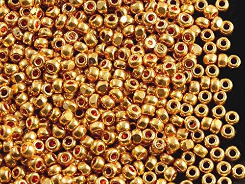 10gr (approx. 680 pcs) 9/0 Preciosa Czech Glass Seed Beads Charlotte Cut Rocailles, Bright Gold Metallic Cut Seed Beads (Charlotte Cut Seed Beads)