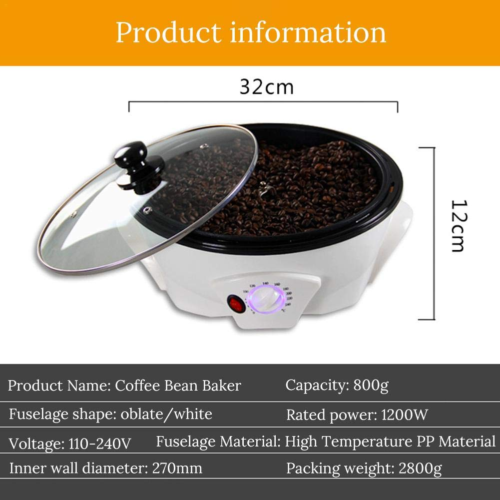 big-time Coffee Roaster 110V Coffee Beans Roasting Machine Household Stainless Steel Electric Drum Type Rotation Coffee Roaster Calm