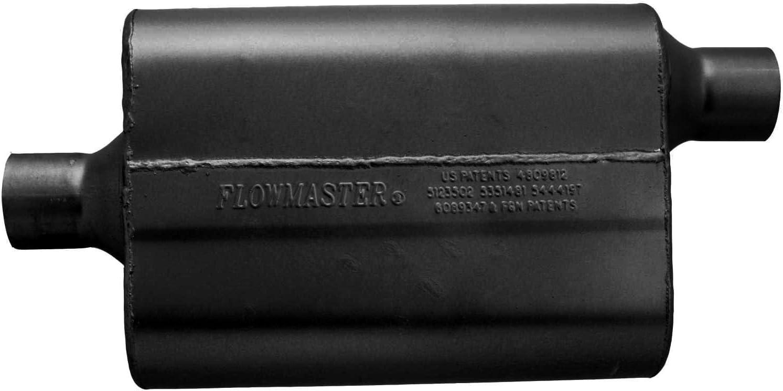 Inlet Outlet Flowmaster 942442 40 Delta Flow Muffler Center in Black 2.25 Offset Out-Aggressive Sound