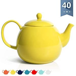 Sweese 220.105 Porcelain Teapot, 40 Ounce Tea Pot - Large Enough for 5 Cups, Yellow
