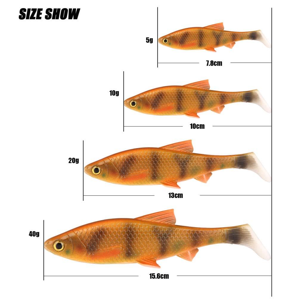 40g HATCHMATIC inpoler 3D Scanned Souple Poisson 5g 10g 20g 40g Leurre avec T-Style Paddle flanquant laction à pêche Couleur A