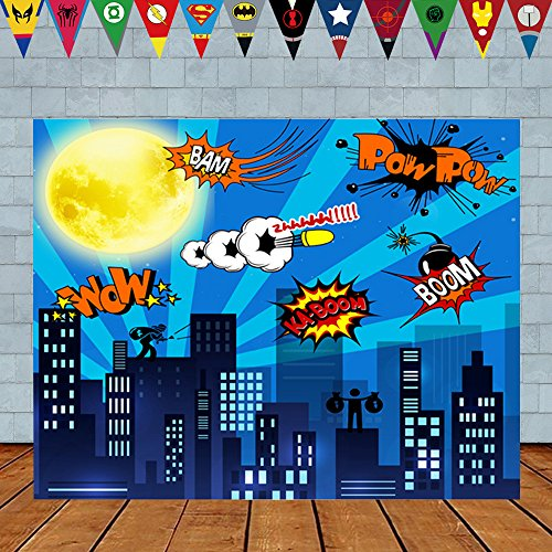 asdfg 5 x 3ft Superhero Cityscape Photography Backdrop and Superhero Party Banner for Kids Birthday Party Decoration, Studio Superhero Photography Background (5 x 3Foot) by asdfg