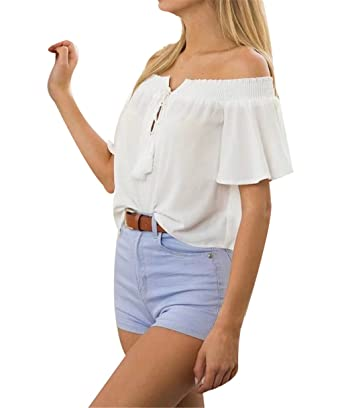 d7ffac07e66 U-WARDROBE Women's Off-Shoulder Chiffon Blouse Solid Color Short Sleeve  Flowy Tops White