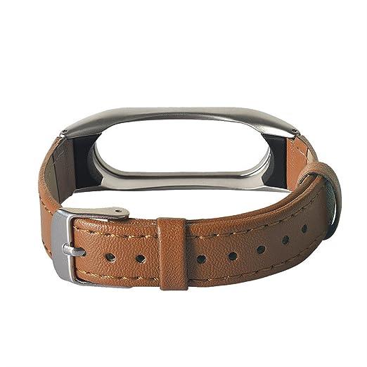JiaMeng Reemplazo de PU Cuero Correa de Reloj Inteligente Banda para Xiaomi Miband 2(marrón): Amazon.es: Ropa y accesorios