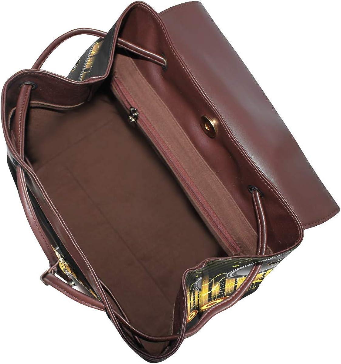 PU Leather Shoulder Bag,Different Speakers Backpack,Portable Travel School Rucksack,Satchel with Top Handle