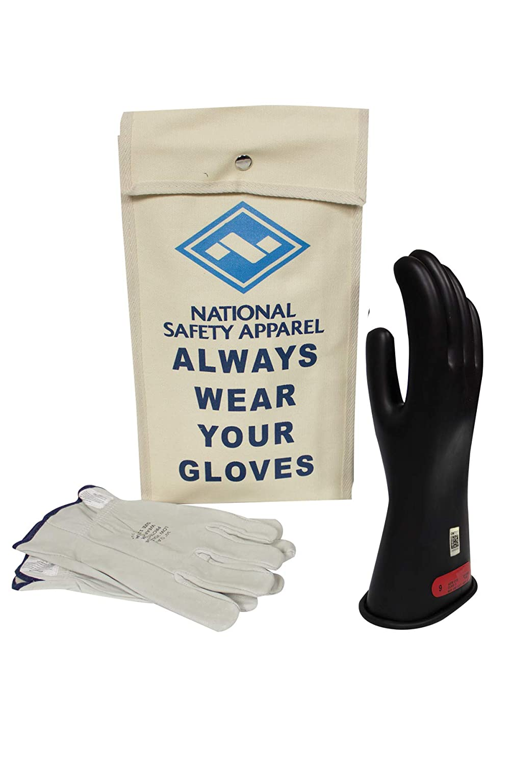 National Safety Apparel Class 0 Black Rubber Voltage Insulating Glove Kit with Leather Protectors, Max. Use Voltage 1,000V AC/ 1,500V DC (KITGC009)