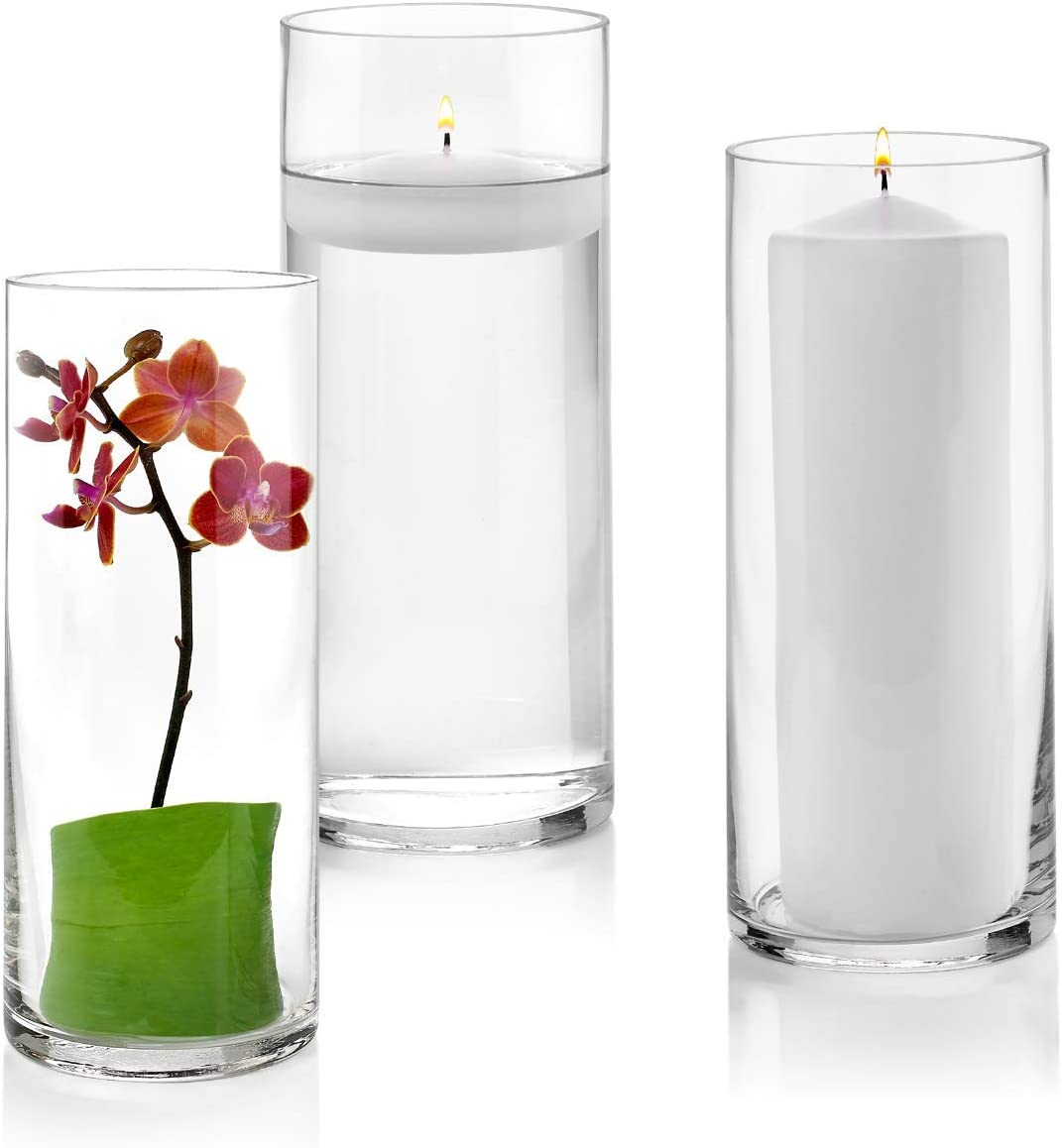 Set of 3 Glass Cylinder Vases 10 Inch Tall – Multi-use Pillar Candle, Floating Candles Holders or Flower Vase Perfect as a Wedding Centerpieces