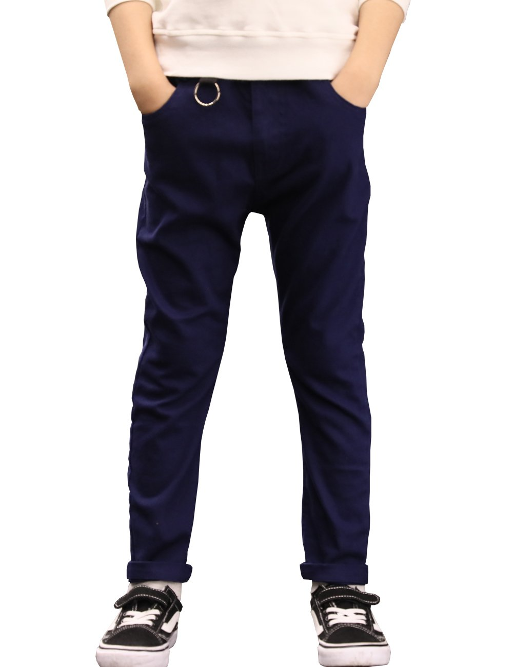 BYCR Boys' Skinny Elastic Waistband Cotton Jogging Pants W9177100732 (Navy, 170 (US Size 14/16))