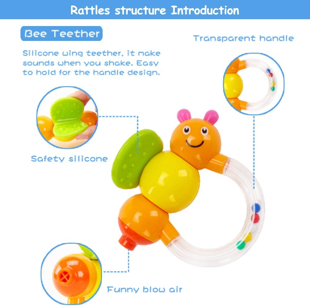 Boy 10 pcs Grab Shaker and Spin Rattle Toy Early Educational Toys with Cute Bear Bottle Gifts Set for 3,6,9,12 Month Newborn Infant Baby Blue Cap GOODWAY Baby Rattle Teether Rattles Toys Girl