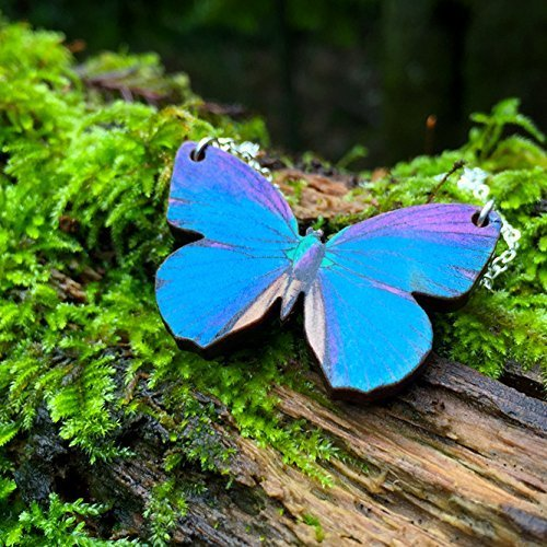Enchanted Leaves - Blue Morpho Butterfly Necklace - Lovely Wooden Blue Butterfly Necklace