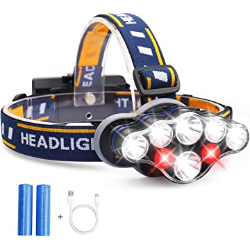 Headlamp, MOSFiATA 13000 Lumen Brightest 8 LED Headlight Flashlight with 6 Working Hours, USB Rechargeable IPX4 Waterproof Head Lamp, 8 Modes for Outdoor Camping Cycling Running Fishing