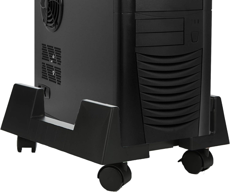 Mind Reader TCPU-BLK Small Holder, Adjustable Width Mobile, Lockable Wheels, Black, Plastic CPU Stand