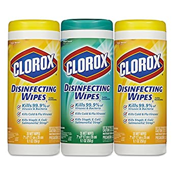 "Clorox CLO 30112 Disinfecting Wipes, 7"" x 8"", Fresh Scent/Citrus Blend, 35 per Canister, 3 per Pack, 5 per Carton, White (Pack of 525)"