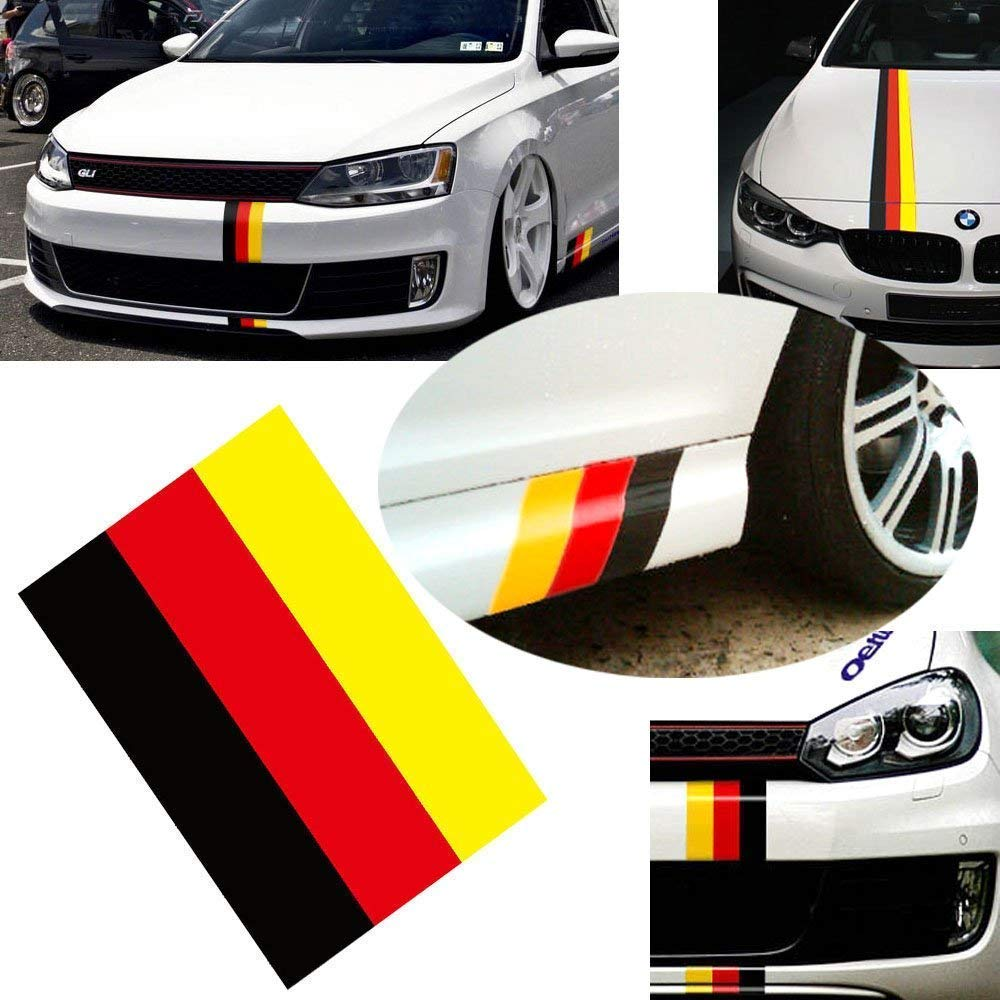Amazon com ijdmtoy 10 inch germany flag color stripe decal sticker for euro car audi bmw mini mercedes porsche volkswagen exterior or interior decoration