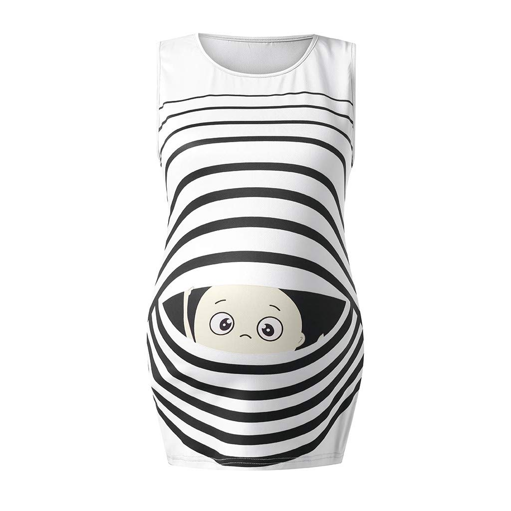 Summer Tops for Pregnant Women,Women's Print Baby Maternity Round Neck Sleeveless Top Vest,Outdoor Recreation,Gray,M