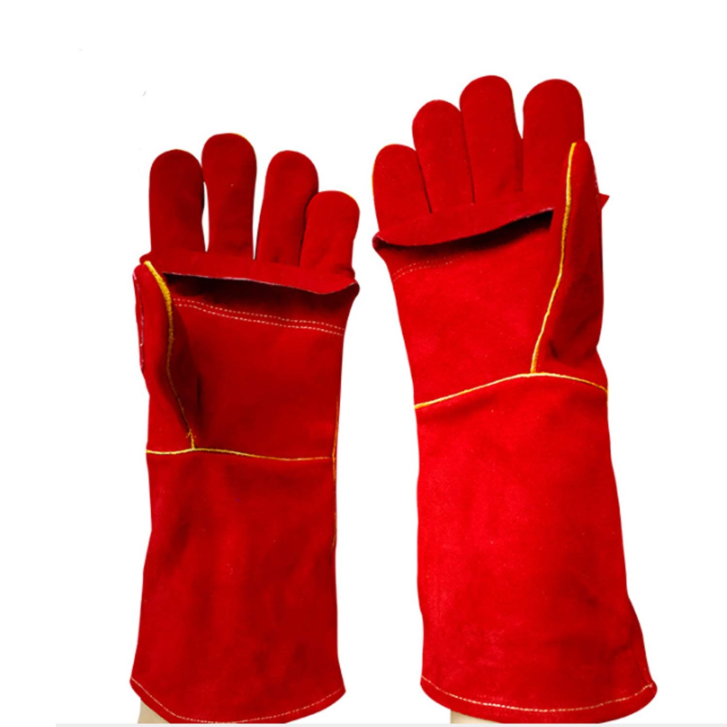 Microwave Gloves 2 Pairs Safety Welding Gloves Heat Insulation Gloves Cowhide Welding Gloves 16 Inches Anti-scalding Gloves Oven Mitts YLYXWBUS (Color : Red, Size : L-10 Pair) by YLYXWBUS Mitts