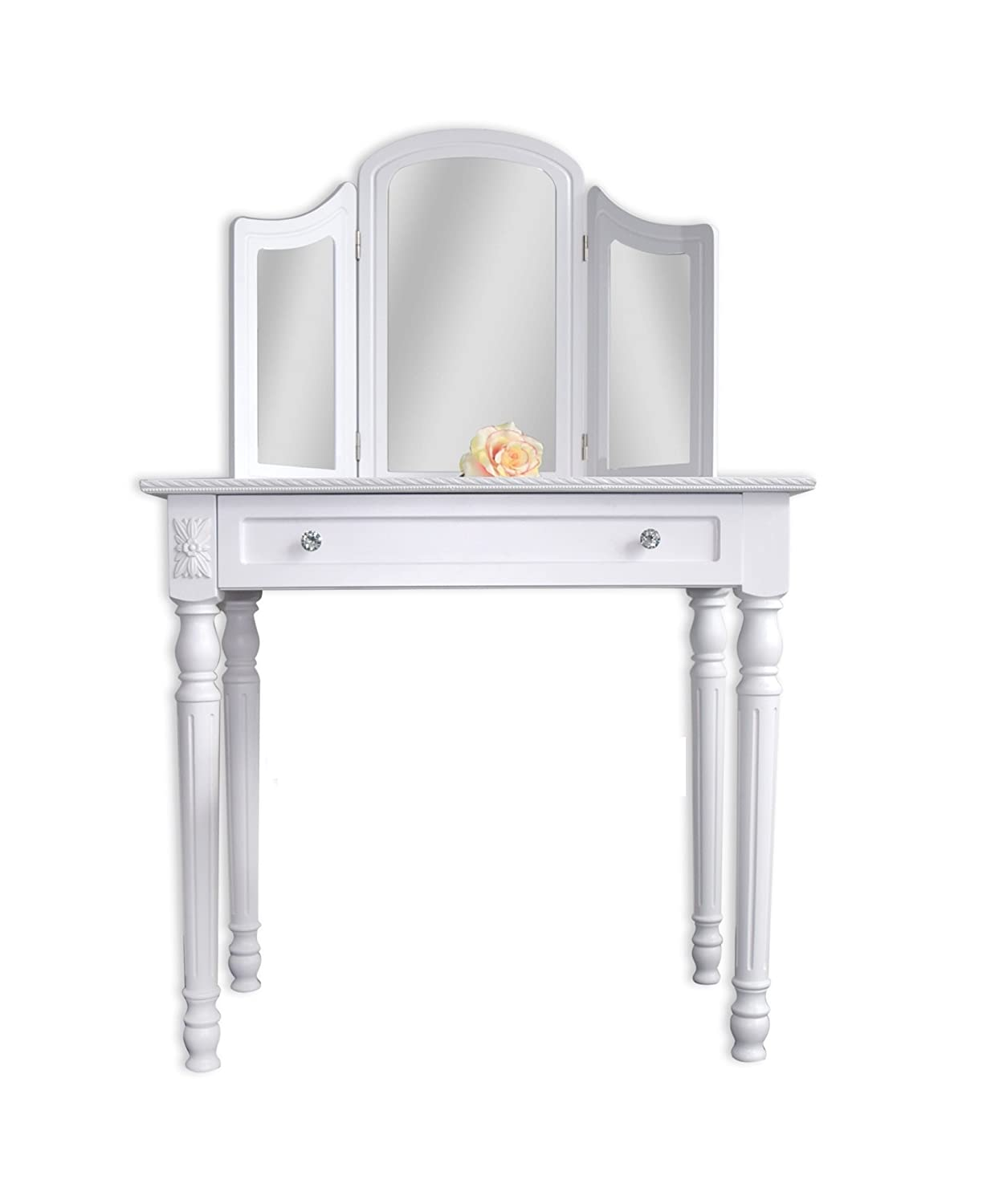 Superb img of Rebecca Srl Vanity Dressing Table 3 Mirror White Wood French Style  with #A26E29 color and 1249x1500 pixels
