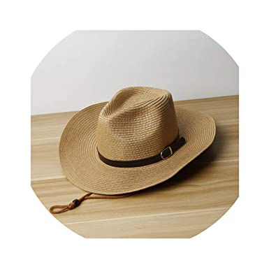 422dcba309fbd Image Unavailable. Image not available for. Color: 2019 Spring Summer Mens Straw  Hats Western Cowboy Hat ...
