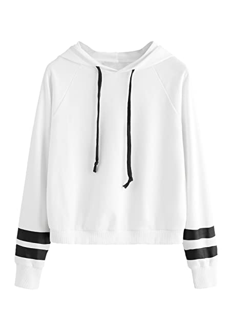 c94a40875 SweatyRocks Sweatshirt Pullover Fleece Drop Shoulder Striped Hoodie