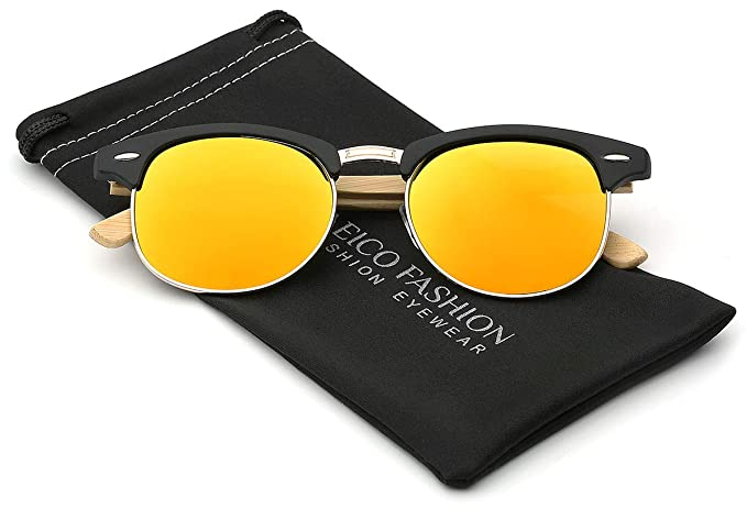 35187352a07 Amazon.com  Polarized Classic Semi Rimless Sunglasses with Bamboo ...