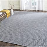 Safavieh Montauk Collection MTK717H Handmade Flatweave Ivory and Navy Cotton Area Rug (8' x 10')