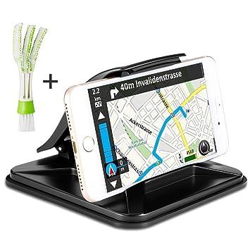 Soporte para Móvil GPS de Coche con mini Plumero, AFUNTA Soporte para coche antideslizante Soporte