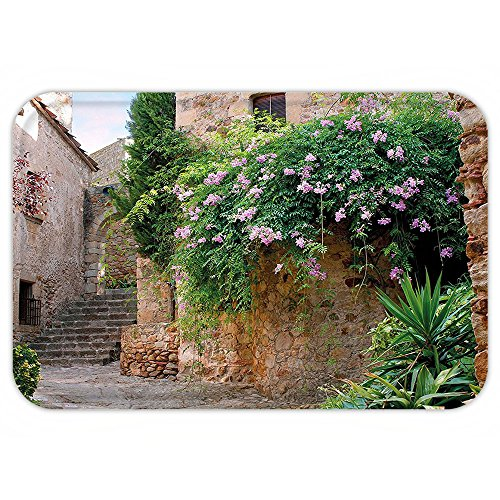 Holiday Costumes In Spain (Kisscase Custom Door MatLandscape Summer Garden FlowerMarigold StoneAntique Ancient House in Spain Art Print Multicolor)