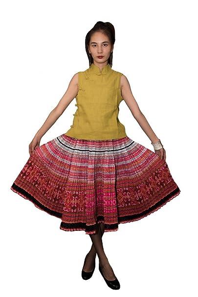 Interact China Falda Plisada Bordada Tribal Hmong Vestido Vintage Algodón 100% Artesanía #116