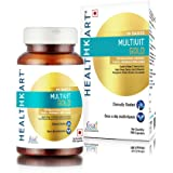Healthkart Multivit Gold, with Multivitamin, Multimineral & Natural Extracts (Ginseng, Ginkgo biloba extract), Omega 3 (with EPA & DHA), Antioxidants (Citrus bioflavonoids, Lutein), Probiotics- 90 capsules