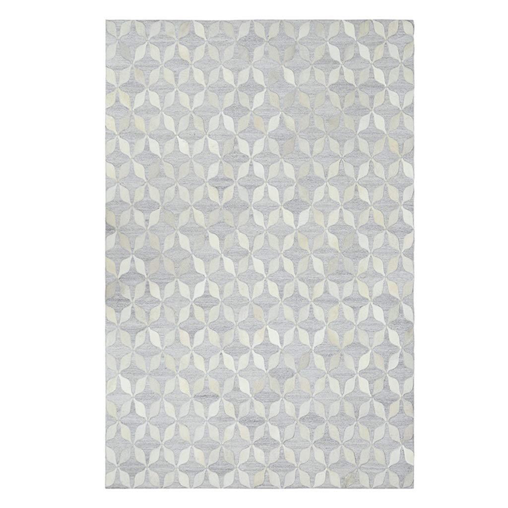 ラグカーペット カーペット輸入カーペット革カーペット長方形カーペットリビングルームカーペットベッドルームベッドサイドカーペットコーヒーテーブルカーペットホームカーペット手作りカーペット幾何学的カーペット (Color : 白, Size : 160*6*230cm) 160*6*230cm 白 B07JJZWQQS