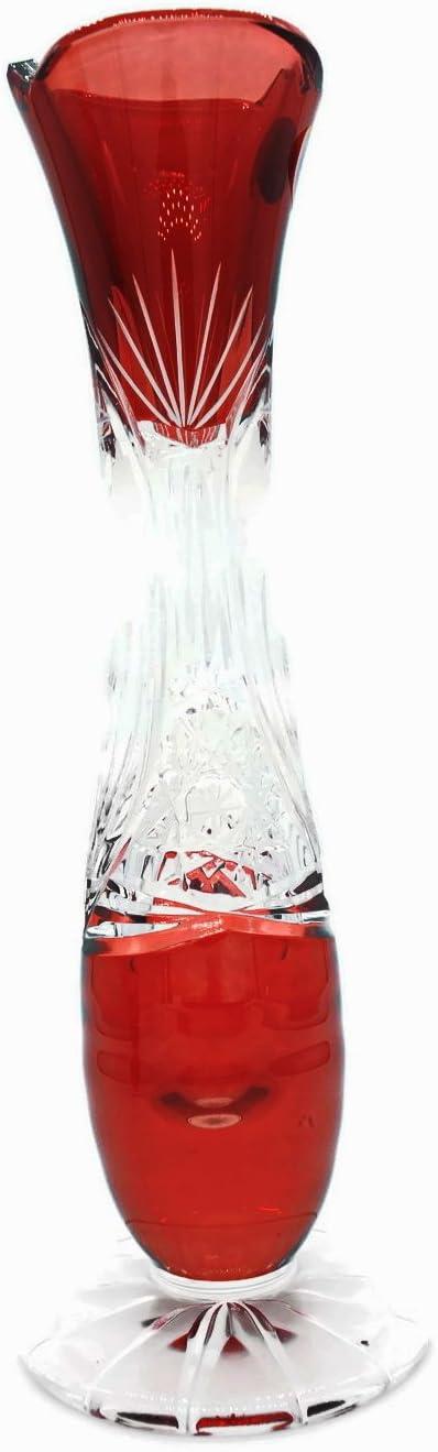Kardas Crystal TM Bohemia LEADED Crystal Glass SHAPILLO VASE Small, Vino Red